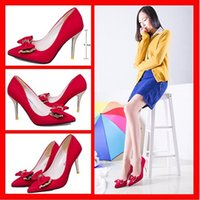 pump - 2015 Fashion Korean Shoes wedding shoes Pumps Elegant Pointed Toe Floral Print High Heels With Bowtie Party Shoes Zapatos Mujer