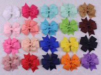 Wholesale new colors choices selling inches Grosgrain hair accesorries baby girl toddler boutique solid hair bows WITH Clips Y