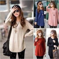 Wholesale 2014 New Casual Women Round Neck Long Sleeve Knitted Pullover Jumper Loose Sweater