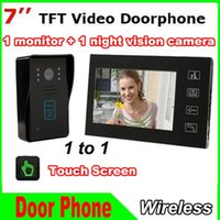 Wholesale 7 TFT Touch Screen Color Video Doorphone monitors Night Vision TVL IR Camera Intercom system