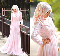 Cheap 2015 New Fashion Customized A Line Beaded Crystal Arabic Hijab New Style Long SLeeve In Dubai Muslim Bridal Pink Wedding Dresses