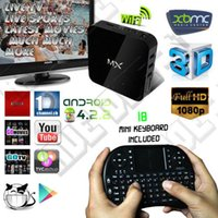 Wholesale XBMC Installed MX2 CS838 Dual Core Android Smart TV BOX MX Media Player Cortex A9 Built in WIFI MKV D Movie Games With i8 Air Mouse