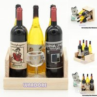 Wholesale Cup Wine Juice Bottles with Wooden Kitchen Dining Drink Miniature for Re ment Orcara Dollhouse Accessories