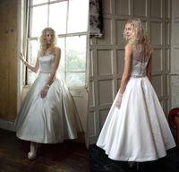 lace bow - Custom Cheap Sheer Bateau Short Wedding Dresses Vintage Satin With Beads Sash Tea Length Short Style Wedding Gown Dress Prom Evening
