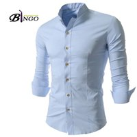 Wholesale Bingo M XXL size European amp American men s Casual fashion stand up collar fine men cultivating cotton long sleeved shirt