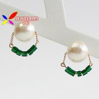 beaded ear rings - 2015 fashion elegant vintage designer textured faux pearl green tube beaded charm ear stud earring for women Aretes de perlas