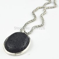 antique plastic jewelry - N56G Lava Rock Oval Volcano Necklace Pendant Natural Stone not plastic or resin Vintage Tibet Alloy Antique Silver Jewelry