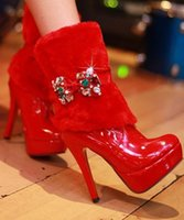Wholesale Sexy Colorful Wedges - Free Shipping,Fur Trim Colorful Rhinestone Bowtie Sexy Ankle Boots #667,US 4-8.5,Womens Ladies Shoes