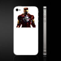 Cheap Wholesale-Free Shipping Iron Man Vinyl Skin for iPhone Backside Skin Mobile Phone Skin Cellphone Skin