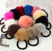 Wholesale New winter han edition hair bands cartoon cute rabbit hair ball Rubber Bands hair accessories mixed colors