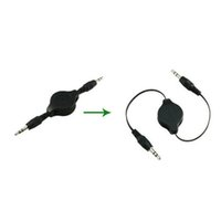 Wholesale Retractable mm Auto AUX audio cable car stop carrying gilded head Car mp3 cord