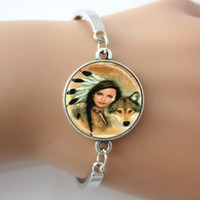 american native people - Native American Woman Bracelet Glass Wolf Silver Bangle Tile Jewelry People Pendant Jewelry New Hot Gift pc