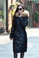 Wholesale Winter Jacket Women Fashion Parka Luxury Raccoon Real Fur Down Jacket black long Female Thickening Winter Coat
