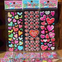 Wholesale 2016 New Love Heart Anime Cartoon Stickers D PVC Adhesive Bubble Stickers Kids Classic Toys Craft For baby Children
