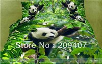 Wholesale Luxury Oil Painting Cotton D King Size Animal Panda Bedding Bed Set Duvet Covers