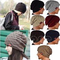 Nueva moda señoras de las mujeres unisex de invierno de punto de Invierno Hat Gorro Reversible cráneo Chunky Baggy casquillo caliente