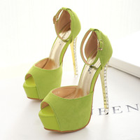 apple green heels - 14cm Apple green ankle strap rhinestone heels shoes sexy high heels pumps wedding shoes party dress shoes size to
