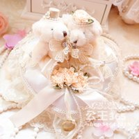 bear baskets - New Teddy Bears Wedding Ring Pillow heart shaped Lace Decorations wedding ring box personalized creative wedding ring pillow wedding props