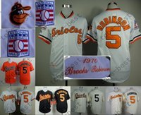 baltimore orioles orange - Brooks Robinson Jersey Vintage Cream Orange Baseball Baltimore Orioles Retro Jerseys