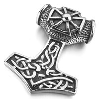 Wholesale Large Love Necklace - Men's Large Stainless Steel Pendant Necklace Silver Thors Hammer Irish Celtic Knot Triquetra Cross Amulet Vintage -with 23 inch Chain