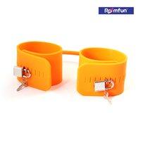 adjustable shackle lock - Roomfun Orange Silicone Handcuffs With Lock Adjustable Shackle Joy Dom Sub Bondage Kit Adult BDSM Sex Toy Sex Product