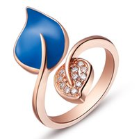 amethyst gold jewellery - 2016 Rushed Conjuntos Leaf Rose Gold Engagement Pink Resizable Rings for Women Bijoux Womens Blue Cz Diamond Jewellery Green Bague Ring J421