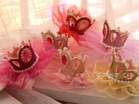 Tiaras barrette for sale - hot sale girl Shinning hair Clips Colors for choose princess lace big crown pearl hairbows baby Fun Party Accessory Hair accessories