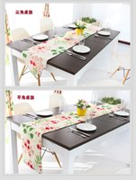 Wholesale Beautiful Flowers Cotton Canvas Table Runner Reactive Dyeing Double Fabrics Table Cloth Runner Flat and Sharp Sngle cm cm