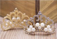 Wholesale Fashion New Pearl Rhinestone Diamond Crown Princess Accessory Pearls Beaded Rhinestones Crowns Girls Women Accessories BY0000