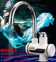 Wholesale new LED digital temperature display Tankless electric water heater faucet hot water tap seconds speed cold hot Dual use Kitchen Faucet