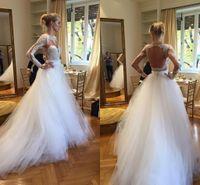 wedding dress ribbon - Berta Bridal Show Lace Tulle Long Sleeve Wedding Dresses Full Winter Illusion Neck Backless A line Bridal Dresses