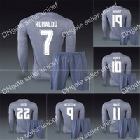 away gray - Spanish liga club away grey gray long sleeve soccer jersey with shorts uniforms customized CHICHARITO SERGIO RAMOS RONALDO