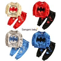 men cotton pajamas set - 2016 New styles Children superhero Batman Spider Man Sets boy girl long sleeve t shirt Pants set Spring Autumn batman pajamas C288
