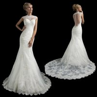 Cheap 2015 Charming Amelia Sposa High Collar Capped Sleeveless Mermaid Lace Wedding Dresses With Applique Beads Sequins Sweep Train Bridal Gowns