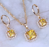 Cubic Zirconia beautiful gold pendants - Beautiful Yellow Citrine Cubic Zirconia Square Jewelry Sets K Yellow Plated Necklace Pendant Hoop Earrings for Womens Free Gift Bag X0165