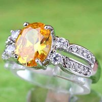 yellow topaz ring - 2015 New Yellow Oval Cut Citrine White Topaz Gemstone K Platinum Plated Rings For Wedding Evening Prom Christmas Size In Stock A0073