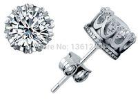 Wholesale 2014 Unisex Trendy Stud Earings Sterling Silver Jewelry Crystal Earrings Crown Earring Gifts for Girls Giftware earrings