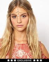 Wholesale Boho Gold Chain Shell Beads Crown Tikka Head Hair Cuff Headband Headpiece Band