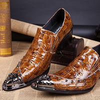 add height shoes - Men s Metal Tip Studded Spikes Shoes Great crocodile grain Mens Elevator Height Increasing Formal Shoes Black Leather Add cm