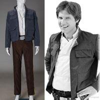 Wholesale Hot Movie Star Wars Empire Strikes Back Han Solo Men Jacket Pants Belt Cosplay Costume