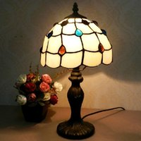 art glass table lamps - European peacock tail lamp modern minimalist small European style garden vintage stained glass table lamp Creative Arts