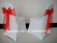 Cheap 100pcs Spandex chair cover  wedding chair covers+100pcs Red organza chair sashe