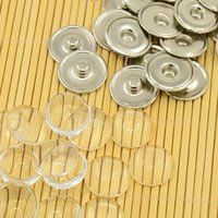 cabochons - Snap Button Making Brass Snap Buttons with Clear Glass Cabochons Platinum Clear Button x4mm Knob mm Tray mm Glass Cabochon
