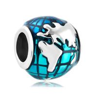 large hole beads - Enameled Blue Earth Shaped Lucky European Charm in Large Hole Metal Slide Bead Fit Pandora Bracelet