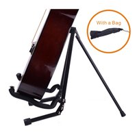 Wholesale Portable Folding Guitar Stand Full Metal Compact Style with Bag Black