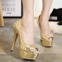 achat en gros de talons d'or pointes-Brillant talons aiguilles d'or Pompes chaussures de mariage argent plate-forme de haut talon chaussures de bal Taille 35 à 40