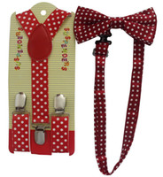 Cheap Free Shipping 2015 New Lovely Girls Toddler Red Polka Dot Braces Suspenders And Bow ties Sets For Boys Children