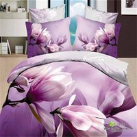 bags lilacs - Cotton D Magnolia Flower Floral Print Lilac Duvet Cover Pillowcase Bed Sheets Bedding Set Queen Size Bed in a Bag