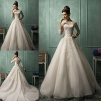 Cheap Winter 2015 wedding dresses Best Appliques Portrait long sleeve bridal gowns