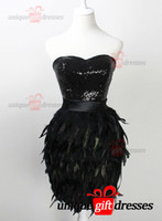 feather cocktail dress - Luxury Little Black Dresses Cocktail Dr esses Sweetheart Knee Length Feathers Sequins Party Dresses W3066
